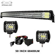 For Ford F150/250/350/450 50in Led Light Bar Curved Triple Row + 4x Cube Pods