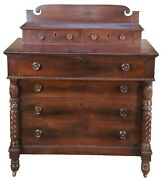 Antique Early 19th C. American Empire Crotch Mahogany Stepback Dresser Chest
