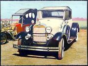 Darrell Hill Two Fords Cream Signed Lithograph Of Antique Cars Model T Model A