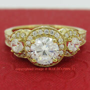 Antique Genuine Solid 9ct Yellow Gold Engagement Wedding Rings Simulated Diamond