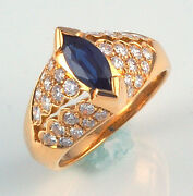 18k Marquise Sapphire And Diamonds Ring - Made In Italy