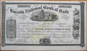 1888 Stock Certificate And039lincoln National Bank Of Bath Maineand039 Me