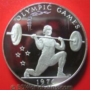 Samoa 1976 One 1 Tala .90oz Silver Proof Weight Lifter Montreal Olympics Crown