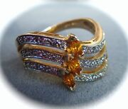 Diamond And Sapphire 14k Yellow Gold Ring S7.5 New Franklin Mint