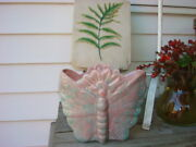 Vintage Planter Vase California Pottery Butterfly Pinks + Blues  Exc Original