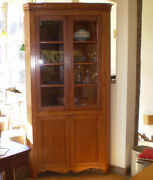 Antique Cherry Corner Cabinet With Glass Doors And Key Locks Circa 1880and039s