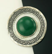 Green Stone Circle Pendant Or Pin 2 Vintage Mexico Sterling Silver Hat