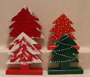 Set Of 4 Wooden Decorated Christmas Trees For Holiday Decor Red And Green 8 Tall