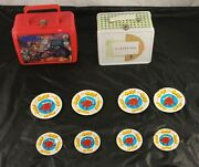 Lot Of 2 Lunchboxes Captain Power And Snacktime And 8 Metal Kool-aid Coasters M1g3