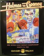 Leroy Neiman Larry Holmes Gerry Cooney Autographed Signed 1982 Fight Poster Coa