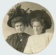 Portrait Of Two Pretty Young Women Wearing Hats And Original Vintage Photo