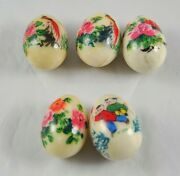 Lot Of 5 Vintage 2 1/4 Marble Eggs Hand Painted Asian Flowers Figures P6y13