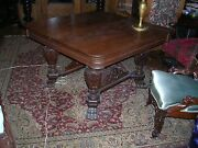 Finely Carved Antique Quartersawn Oak Dining Table Great Carved Center Leg