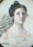 1895 Pastel Portrait Of A Beautiful Lady In Oval Frame And Signed/dated