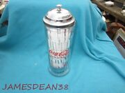 Coca Cola 1992 Vintage Glass And Chrome Straw Holder Delicious And Refreshing Coke
