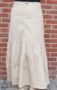 38 Long Tiered Skirt | Womens Modest Tiered Skirts | Tan | Free Shipping Usa