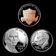 2013 S Lincoln Penny Jefferson Nickel Roosevelt Dime Mint Proof Three Coin Set