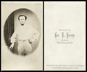 Civil War Era Cdv Photo Portrait Of A Young Man With Suspenders And Allentown Pa