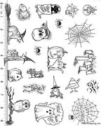 Full Sheet Of Rubber 74 Halloween Rubber Stamp Dies Cat Ferret Frog And More