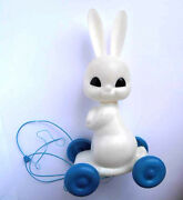 1970s Ussr Russian Soviet Plastic Large Size Toy Hare On Wheels Moving