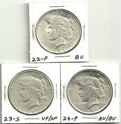 3 Coin Lot__peace Silver Dollars __1922-p__1923-s__1924-p__90 Silver__1322lb10