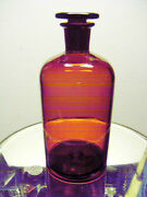 Orange Amber Apothecary Bottle Ground Glass Stopper Mint Cond.9tall By 4wide