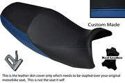 Black And Royal Blue Custom Fits Kawasaki Zzr 1200 Zx 1200 Dual Leather Seat Cover