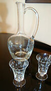 Etched Claret Decanter And 2 Etched Cordial Glasses Fine Crystal