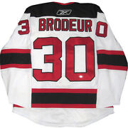 Martin Brodeur Signed Nj Devils Authentic Home Jersey Fight Strap Steiner Auto