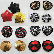 Waterproof Reusable Rose Sequined Heart Stick On Ladies Nipple Cover W/ Bow Set