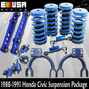 1988-1991 Civic/crx Front Upper Camberandf+r Camber Kits+coilover Springs Blue