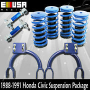 1988-1991 Civic/crx Front Upper Camberandrear Camber Kits+coilover Springs Blue
