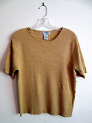 Classic Holiday Short Sleeve Knit Top With Gold Metallic Threads. Sz Lg Petite
