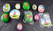 Lot Of 11 Collectible Decorative Tins Clown Seal Toy Bag Bunny Elephant Chicken