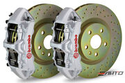 Brembo Front Gt Big Brake Bbk 6piston Silver 355x32 Drill Disc Camaro V6 10-14