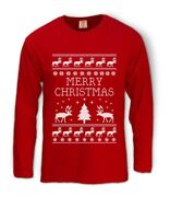 Reindeer Ugly Christmas Sweater Long Sleeve T-shirt Merry Xmas Party Gift Idea