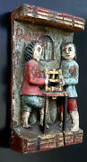 Carpenters And Original Antique Wooden Hand Carved Sculpture Bas Relief