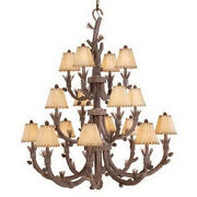 Rustic 16 Light Pine Tree Chandelier With Shades