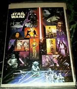 New Sealed Pane Star Wars Trilogy Stamps Yoda Darth Vader Han Solo Chewbacca