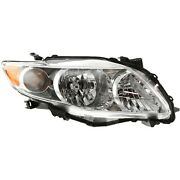 Headlight Right With Chrome Housing For 2009-2010 Toyota Corolla Base Ce Le Xle