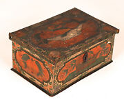 Antique Polychrome Painted Box Coffret Casket Early 19th C. Or Earlier 2
