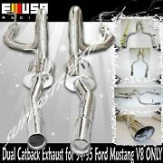 Emusa Dual Catback Exhaust For 94-98 Ford Mustang V8 4.6 5.0l Only 3.5 Tip Od