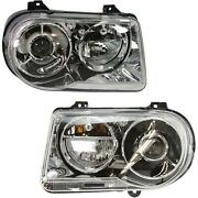 Headlight Set For 2005-2010 Chrysler 300 Left And Right With Bulb 2pc