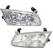 Headlight Set For 2000-2001 Toyota Camry Sedan Left And Right With Bulb 2pc