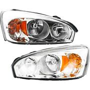 Headlights Headlamps Left And Right Pair Set For 04-08 Chevy Malibu