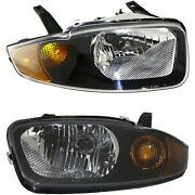 Halogen Headlight Set For 2003-2005 Chevy Cavalier Left And Right W/ Bulbs Pair