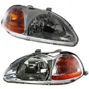 Headlights Headlamps Left And Right Pair Set For 96-98 Honda Civic