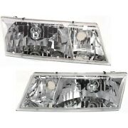 Headlights Headlamps Left And Right Pair Set For 98-02 Mercury Grand Marquis