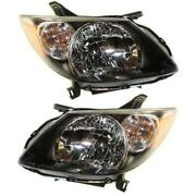 Headlight Set For 2003-2004 Pontiac Vibe Left And Right With Bulb 2pc