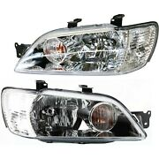 Headlight Set For 2002-2003 Mitsubishi Lancer Left And Right With Bulb 2pc